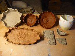 Greenware vessels, push molds, glaze test pitcher.jpg