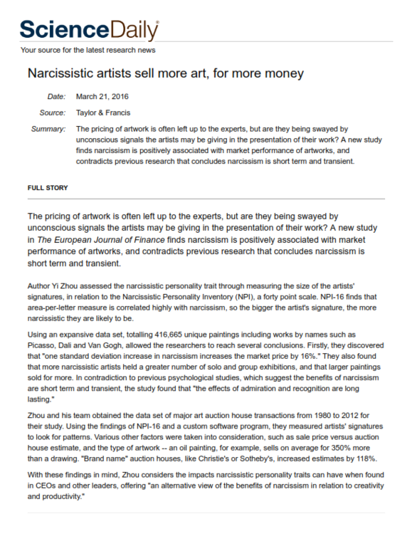 Narcissistic artists sell more art, for more money -- ScienceDaily_001.png