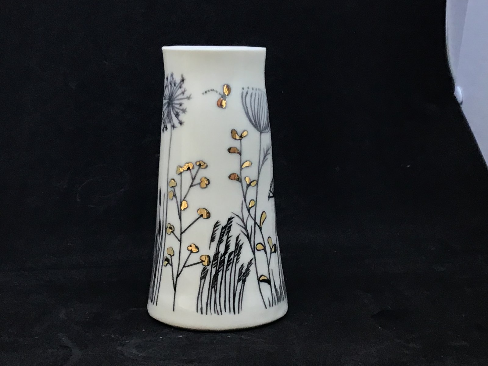 Porcelain grasses vase with gold lustre highlights