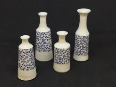 Miniature porcelain bottles with underglaze transfers