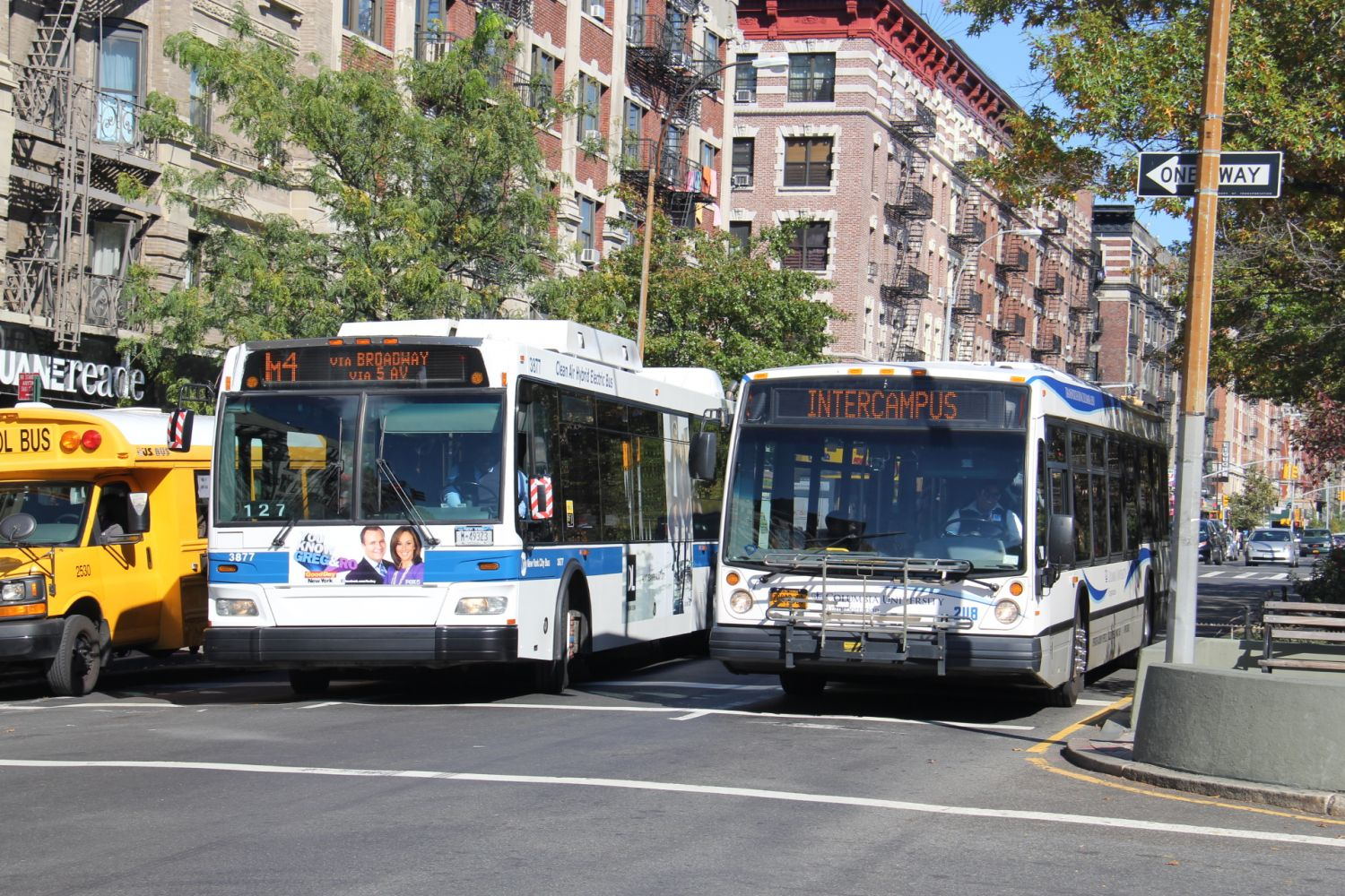 2008 Orion VII NG HLF #3877 M4 and 2007 LF40102 LFS #2118 Columbia University Green Line at Broadway and 137th Street