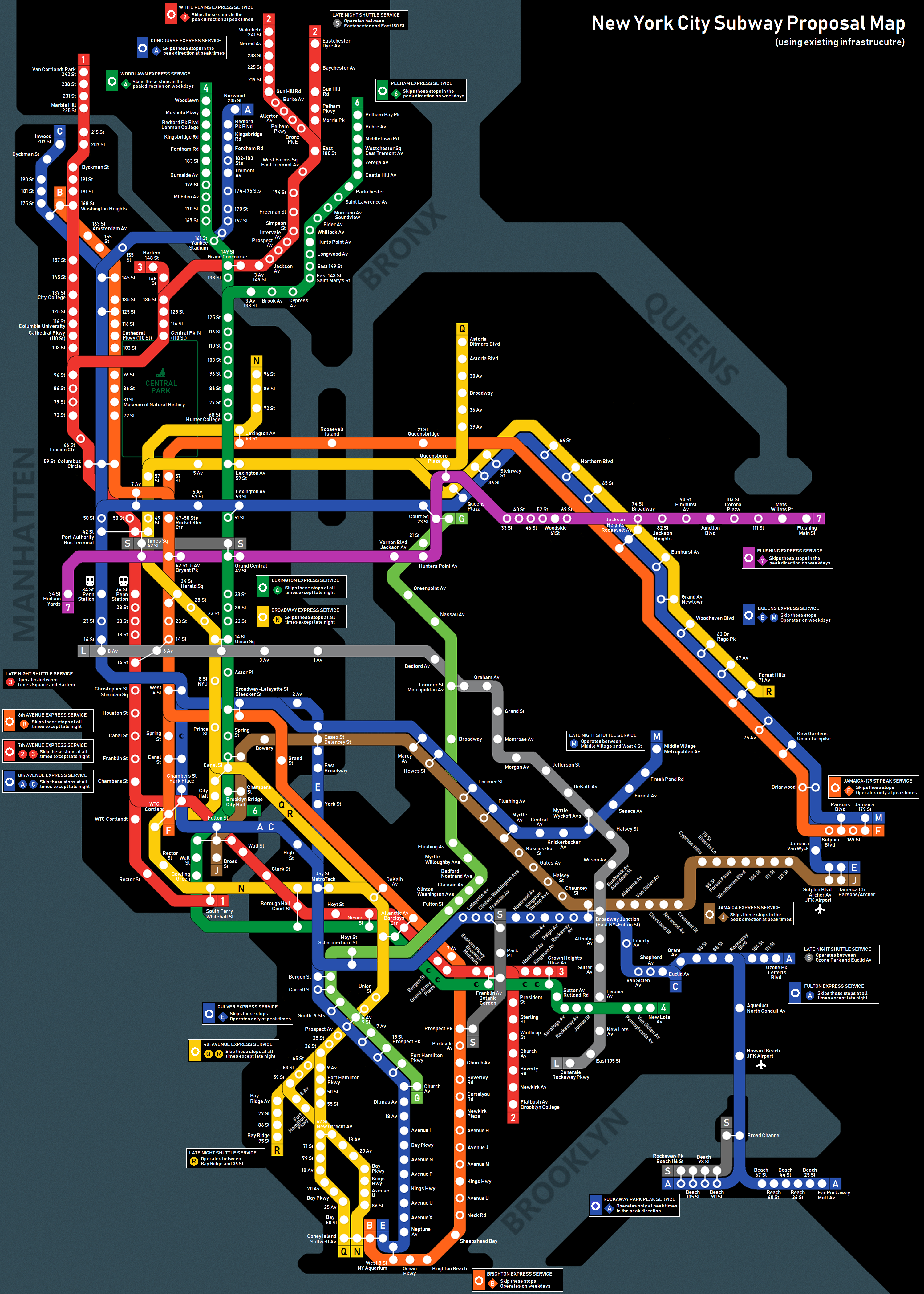 Subway Proposal Map Using Existing Infrastructure