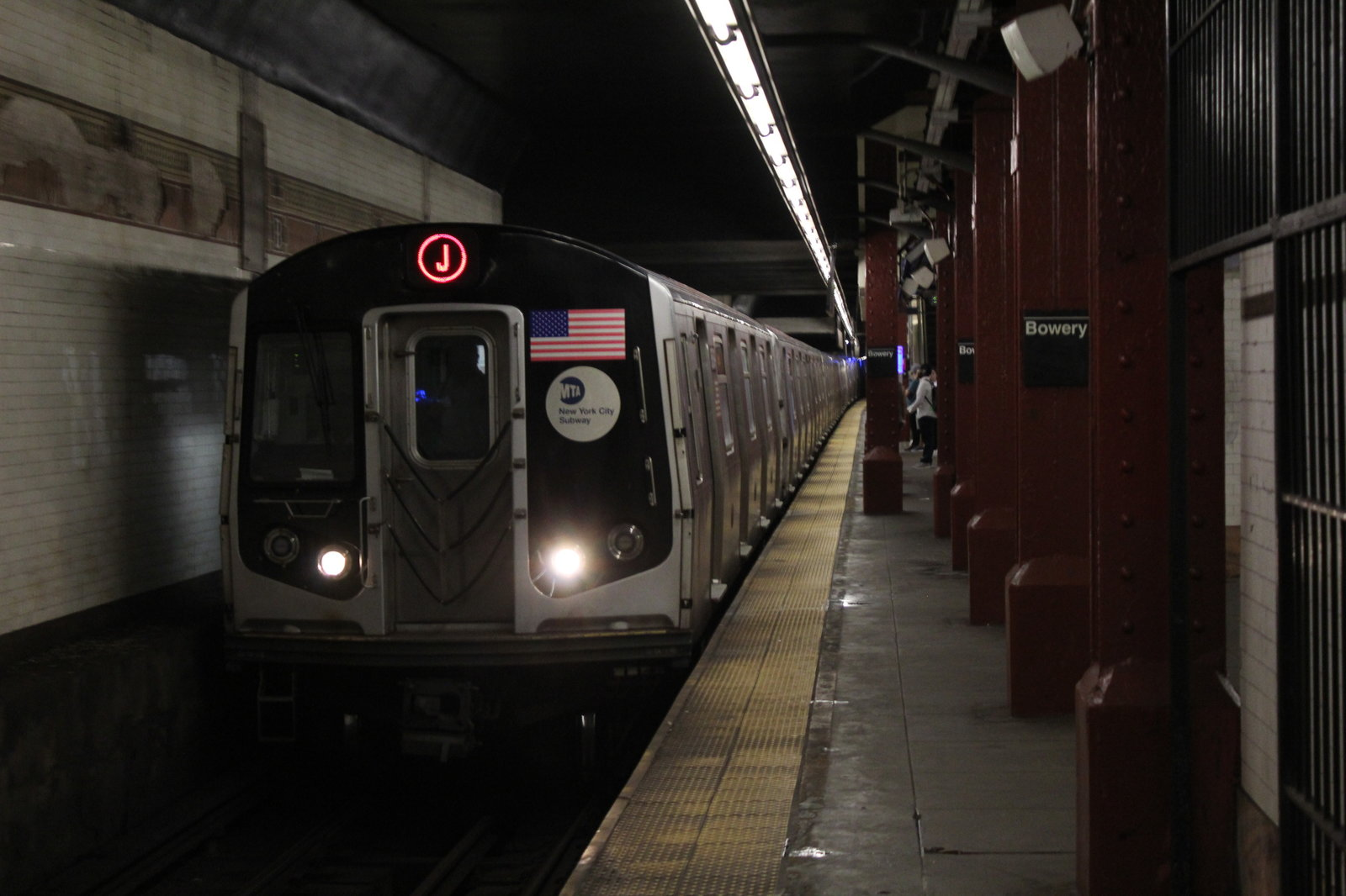 Broad Street-bound (J) train arriving at Bowery