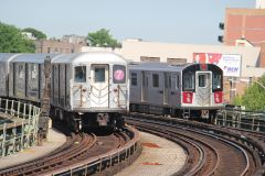 1985 R62A #1726-1730 (7) and 2013 R188 #7844-7854 (7) at 46th Street