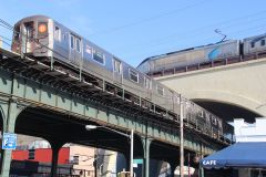 1988 R68A #5029-5032 (B) at Astoria-Ditmars Blvd and 2000 Acela Express Power Car #2029 Acela Express #2125 on the NYCR viaduct in Astoria