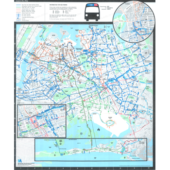 1985 New York City Transit Authority Queens Bus Map - Bus Maps - NYC Queens Bus Map on