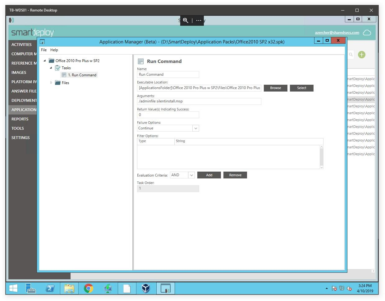 Application Package Question - SmartDeploy Enterprise