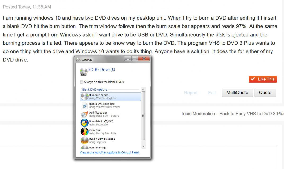 Windows 10 Dvd Drive And Burn Conflict - Easy VHS to DVD 3