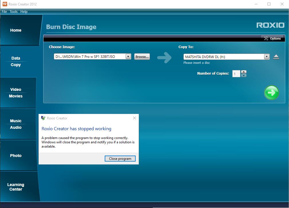 roxio creator 2012 compatible with windows 10 program errors rh forums support roxio com Roxio Creator Home Roxio Creator Icon