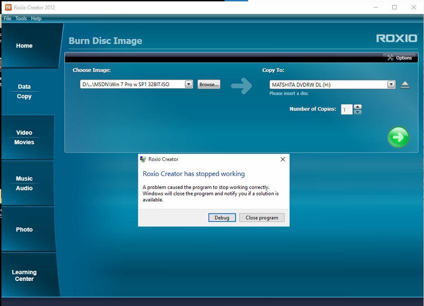 roxio creator 2012 compatible with windows 10 program errors rh forums support roxio com Roxio Creator 2017 Roxio Creator Home