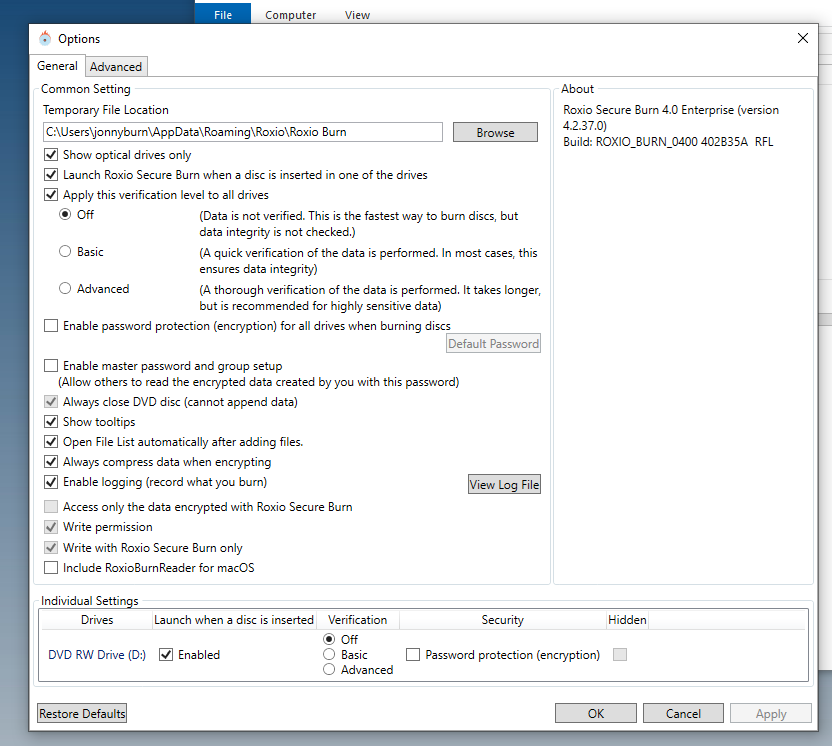 Roxio Secure Burn Enterprise 4: Logging can be turned off by users ...