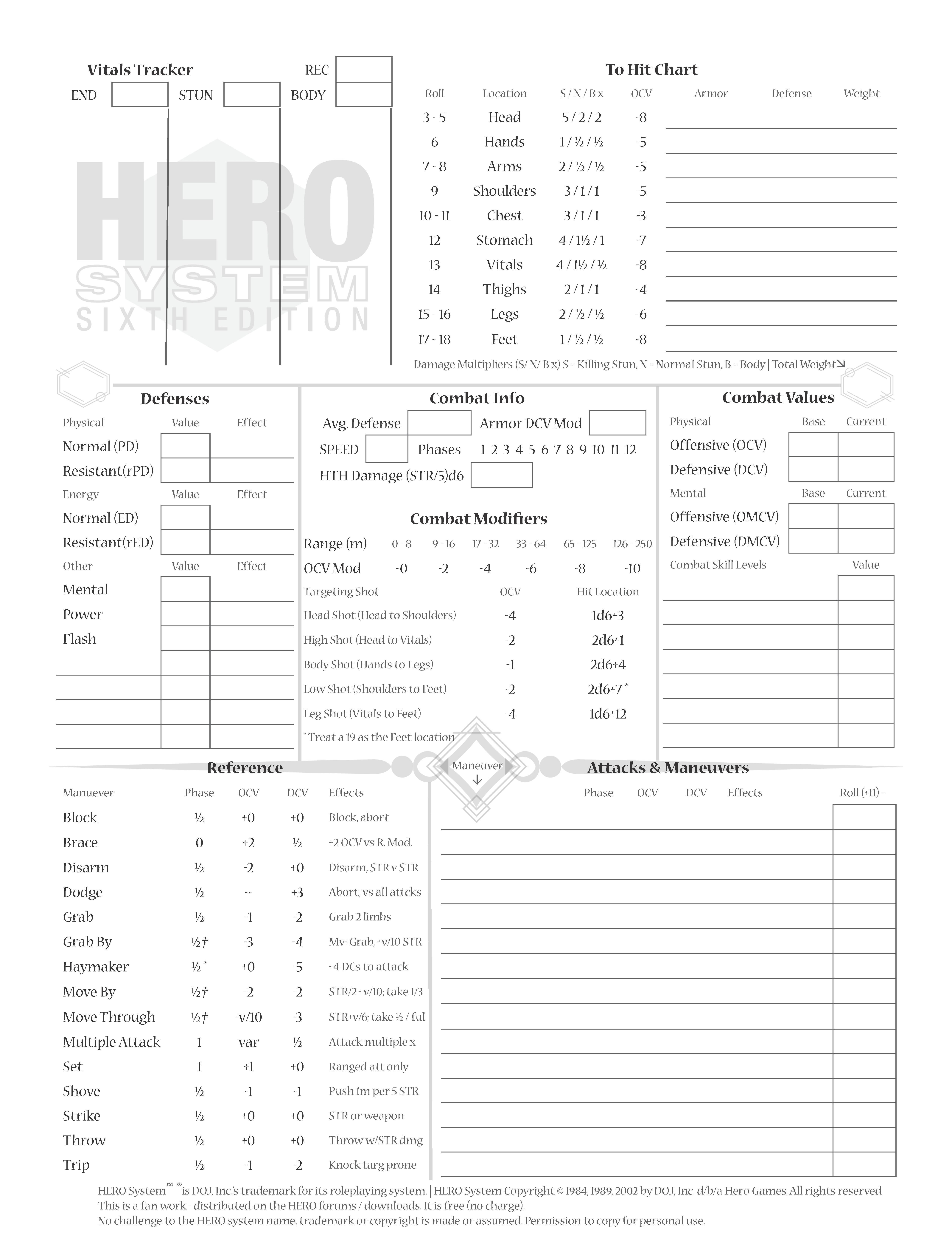 HERO6e_CharSheetDeluxe_TreChriron - HERO System 6th Edition