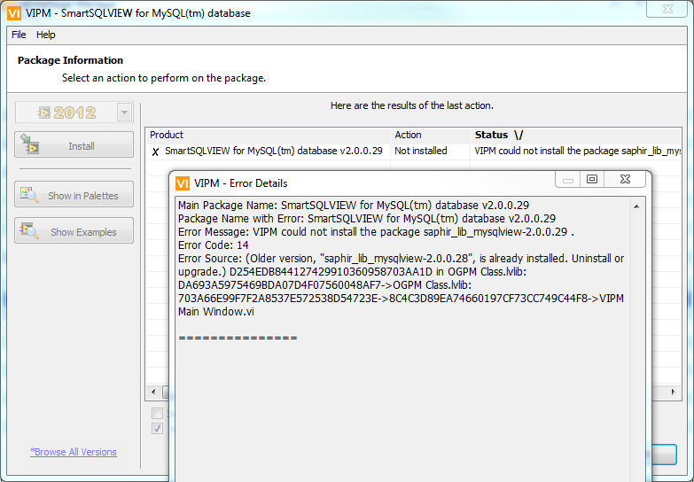 Error 14 during vip upgrade - VI Package Manager (VIPM
