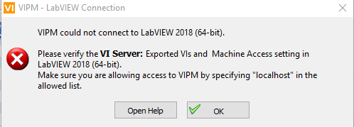 does not find labview version and port - VI Package Manager (VIPM