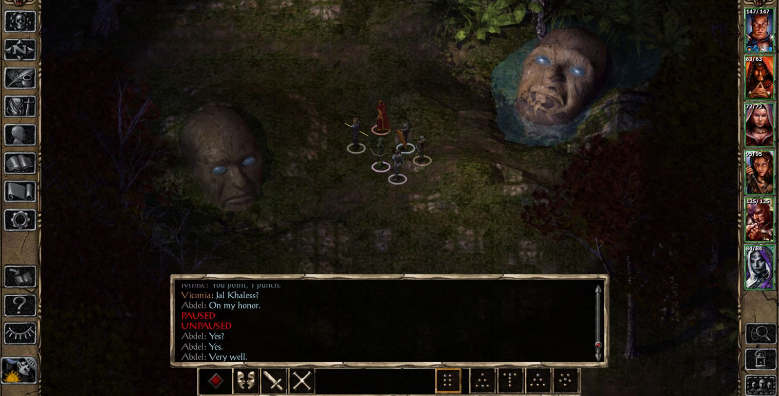 BG2EE screenshot of all NPCs