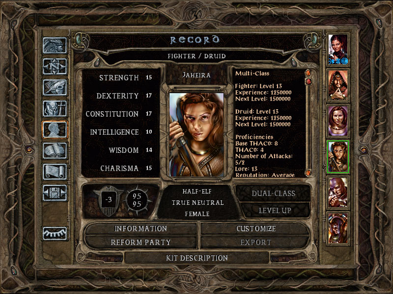 Jaheira's record sheet in original BG2