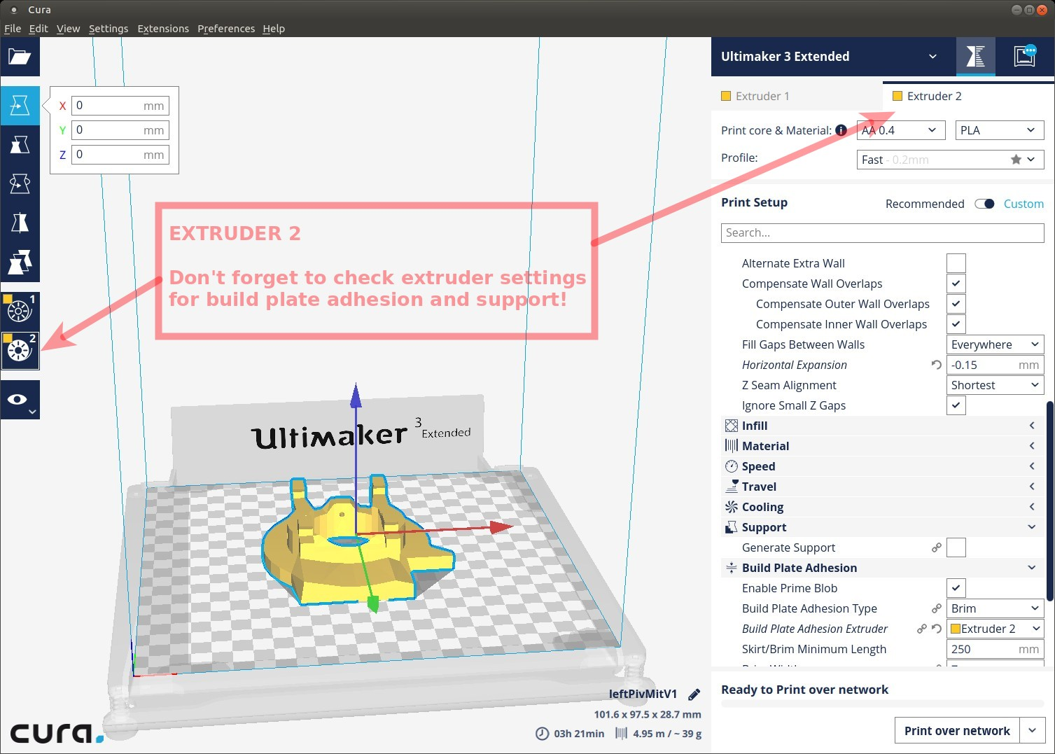 Where is dual extruder option in Cura - Cura + plugins