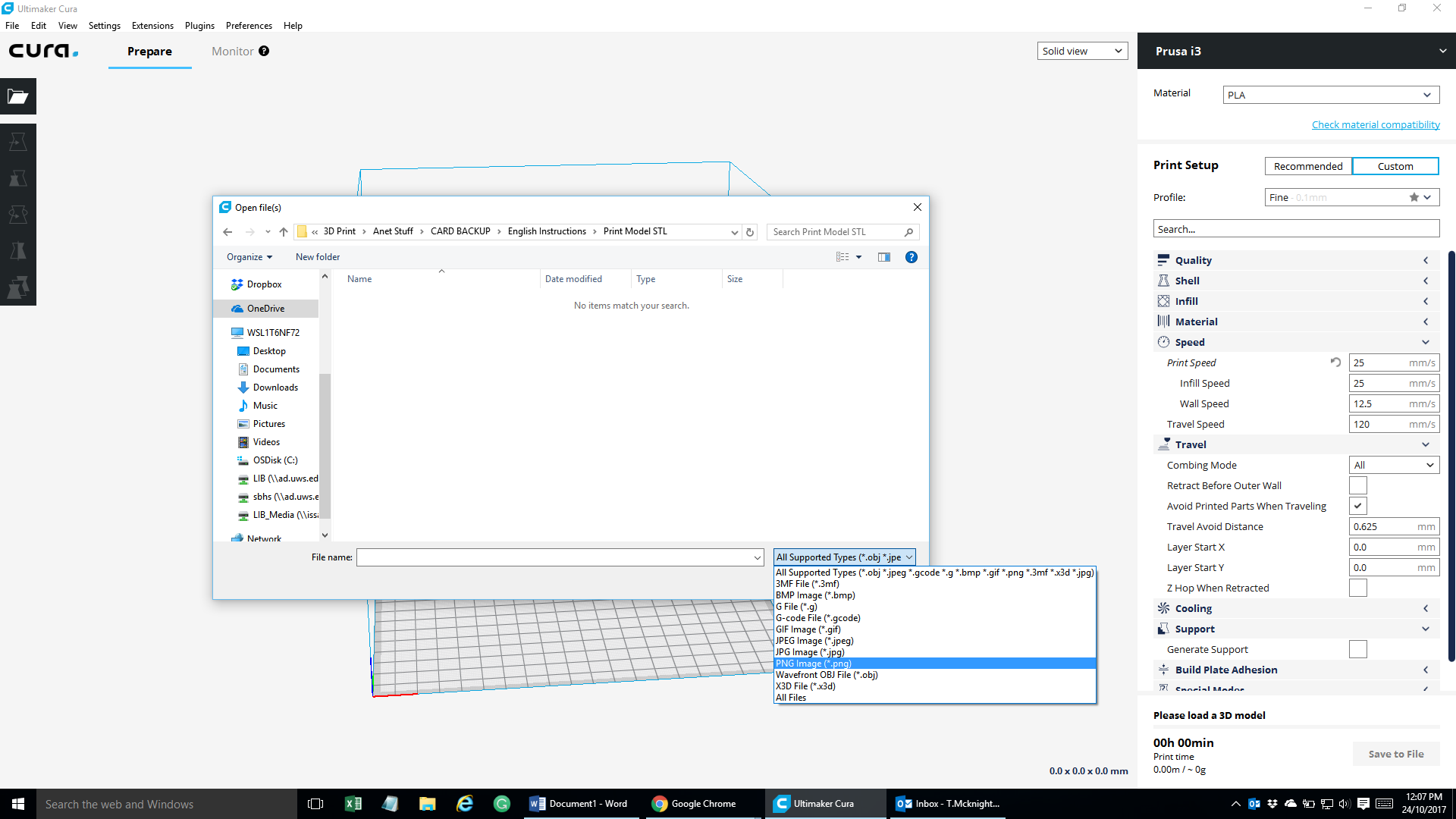 Cura unable to open any STL file - Cura + plugins