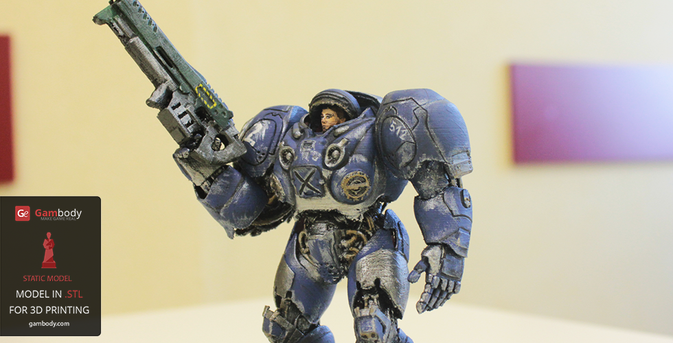 3D Printed and Painted Terran Space Marine - 3D Prints