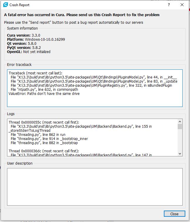 Cura 3 3 Startup Crash - Cura + plugins - Ultimaker