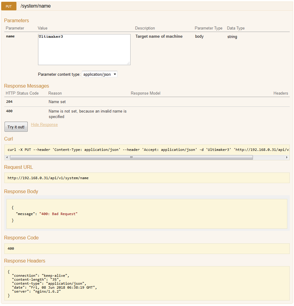 Problem with REST API - UM3 - Ultimaker 3D printers