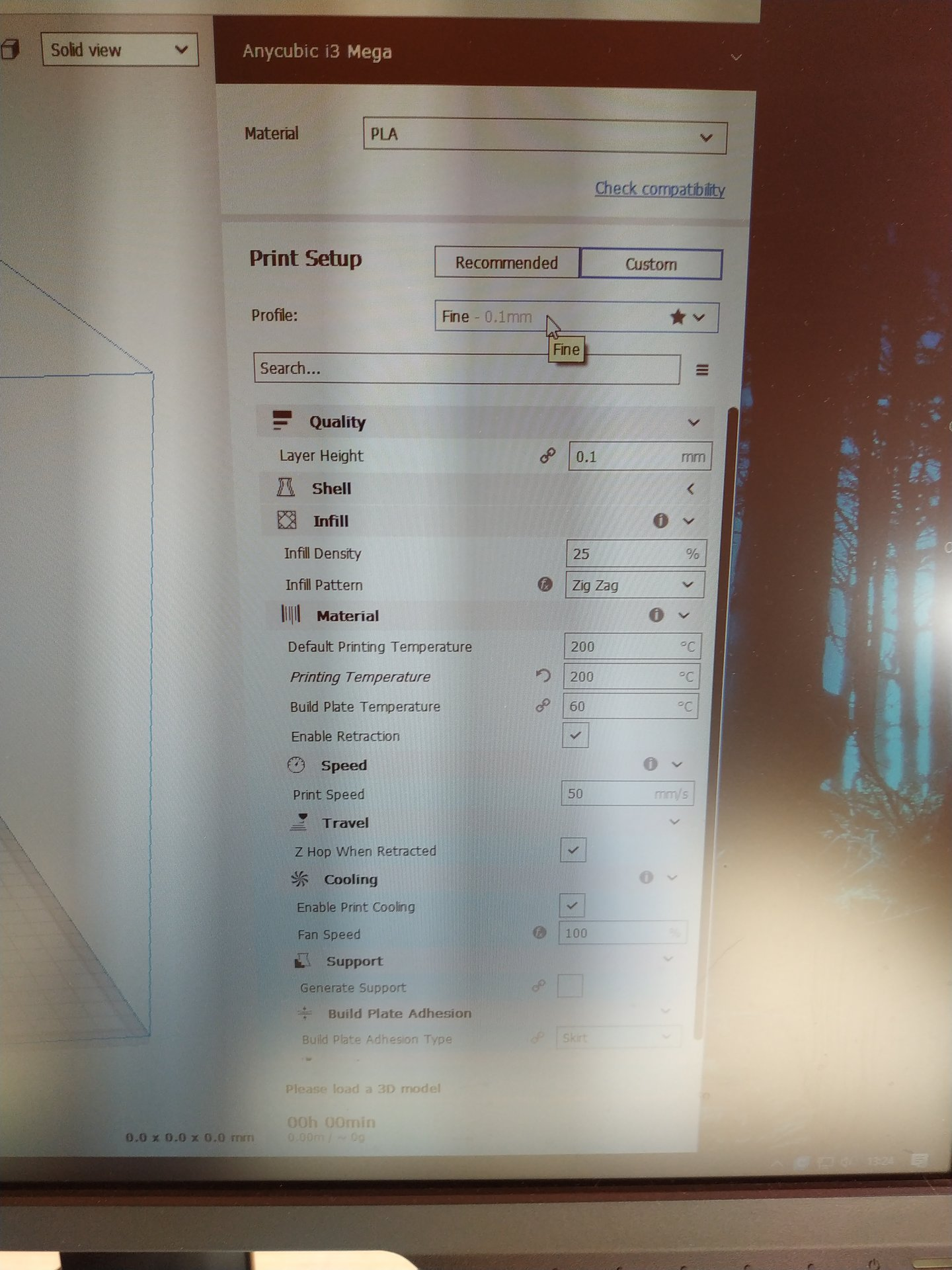 3 6 0] Anycubic i3 mega doesnt shows material selection tab